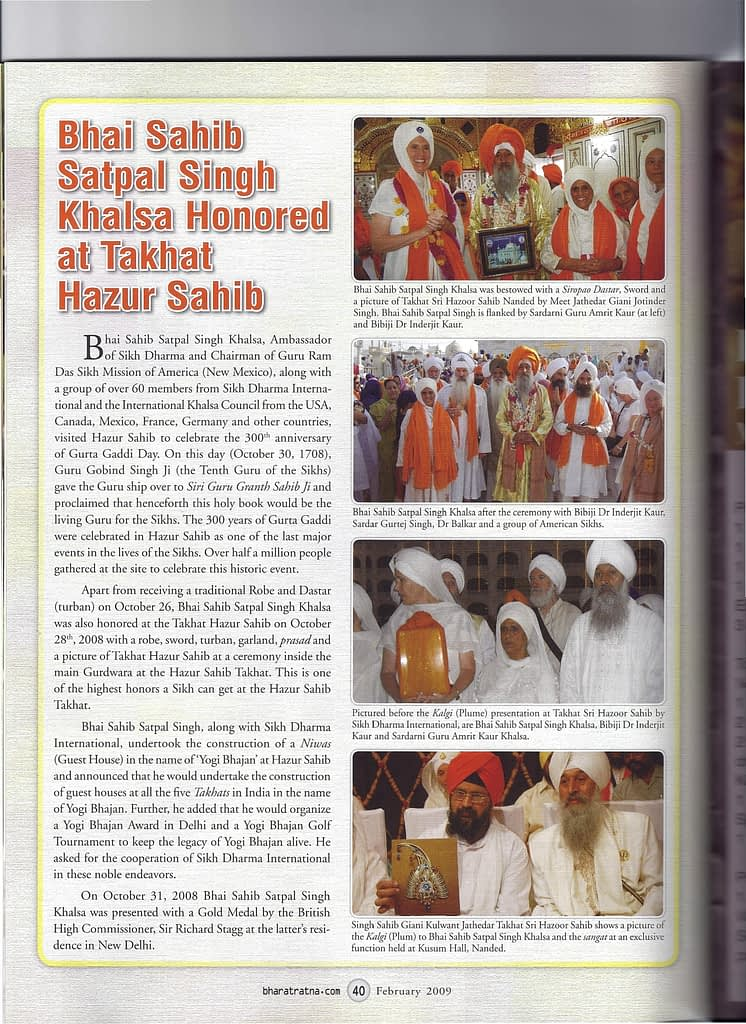 Bhai Sahib Satpal Singh Khalsa honored at Takhat Hazur Sahib